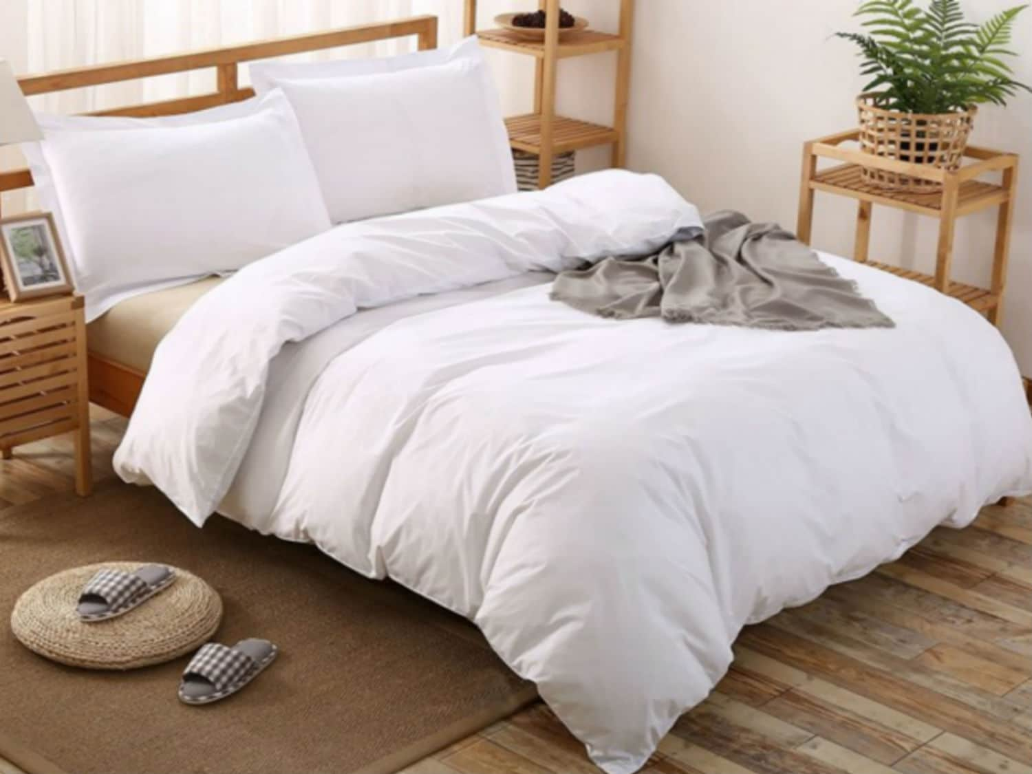 Cotton Duvet Cover With Corner Ties Comforter Cover White